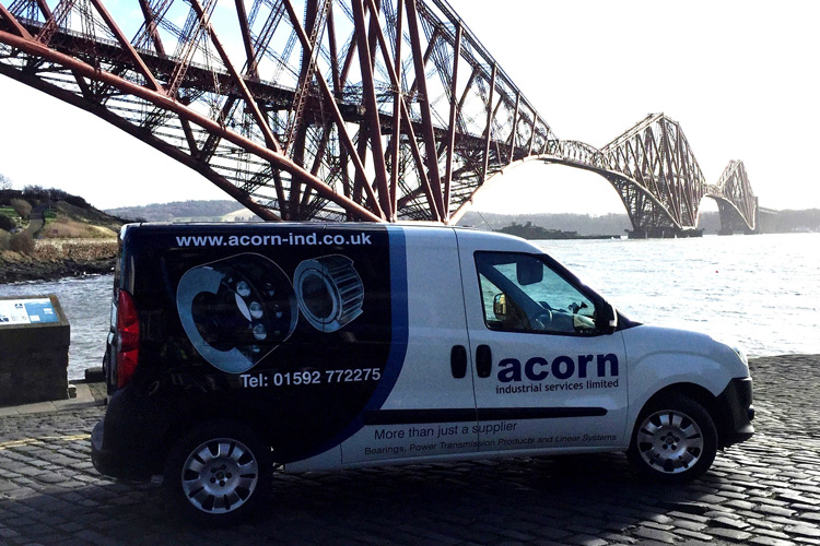 Fife Branch delivery van in front of Forth Road bridge