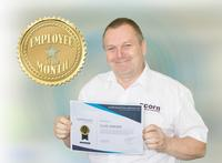 Bearings & Maintenance product manager Clive Simkins holding his Employee of the month certificate