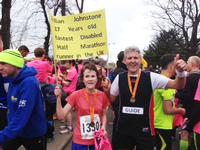 Gillian celebrating being the youngest and fastest disabled half marathon runner in the UK